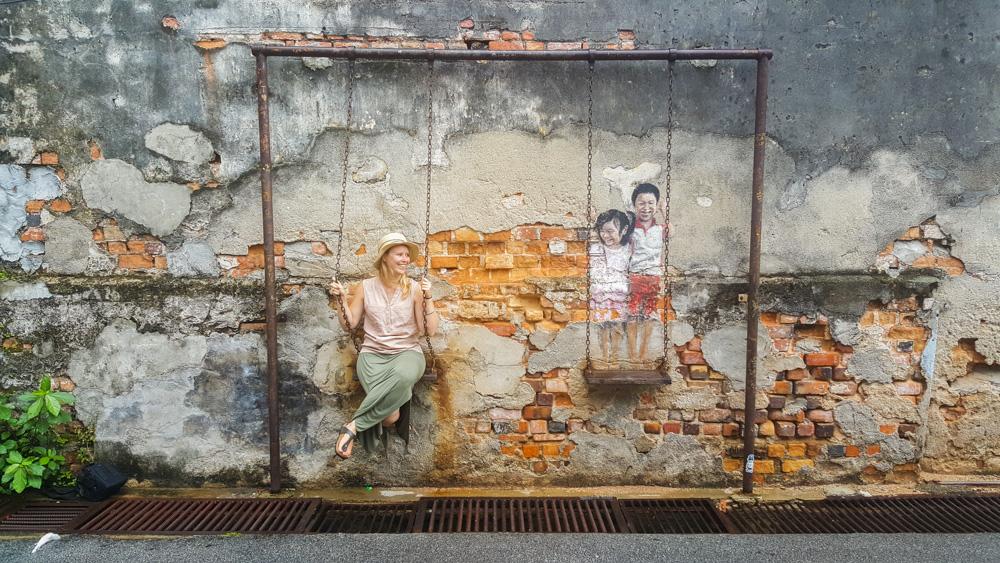Te gekke streetart in Georgetown op het Maleisische eiland Penang