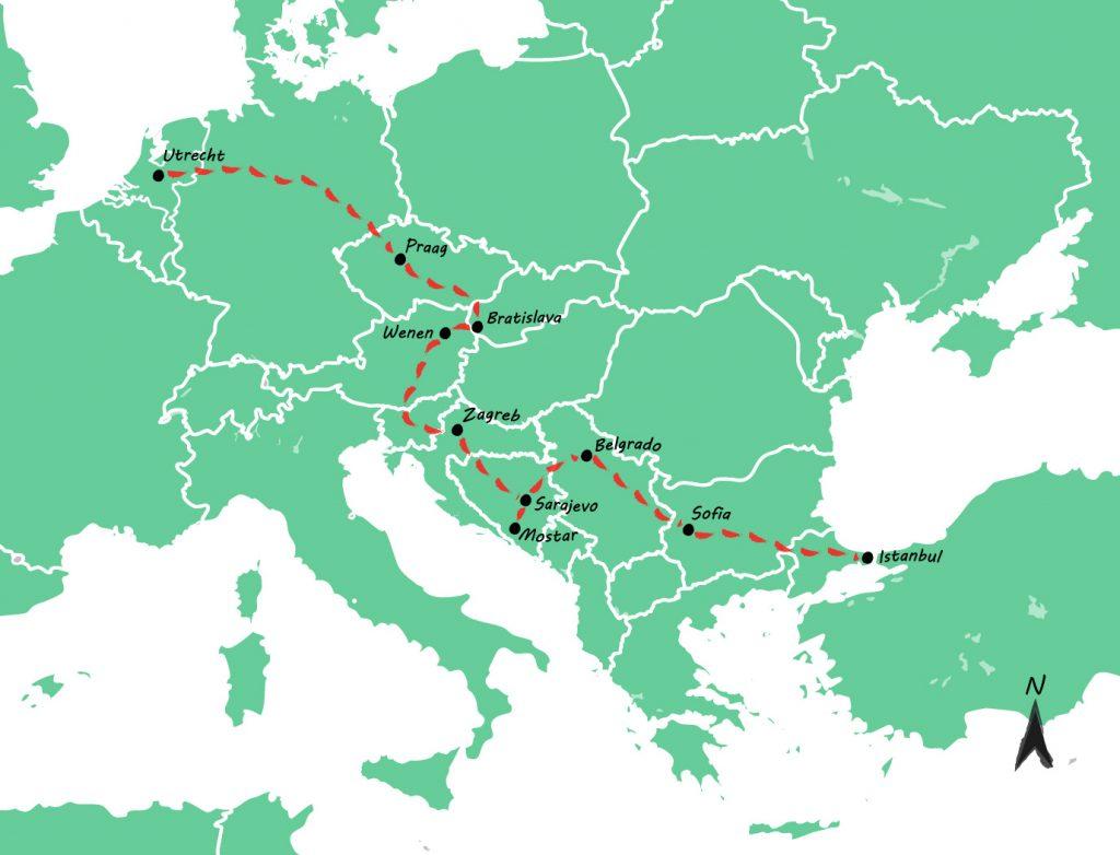 Interrail route - kaart
