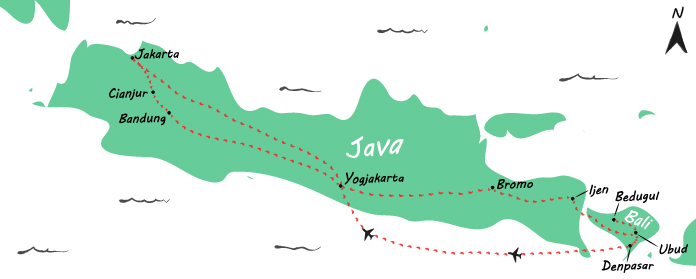 Backpack route door Indonesië: een reis van 3,5 week over Java en Bali