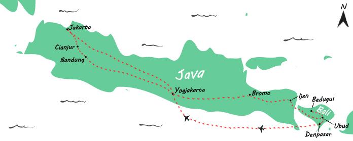 Backpack route door Indonesië - routekaartje