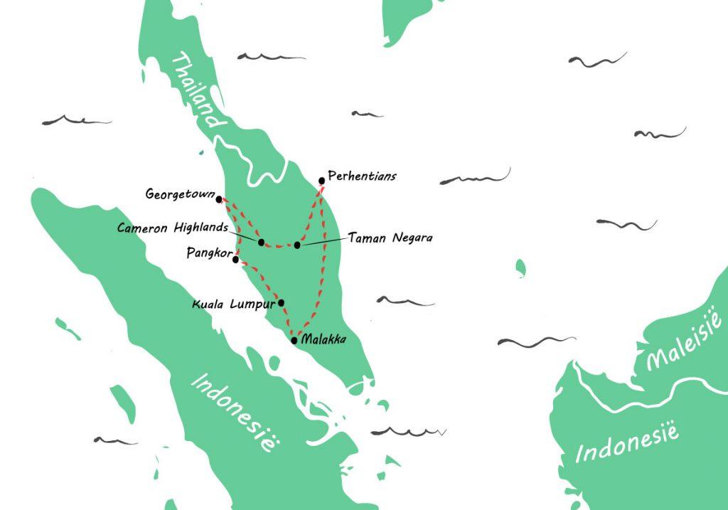 backpack route door Maleisië - kaartje