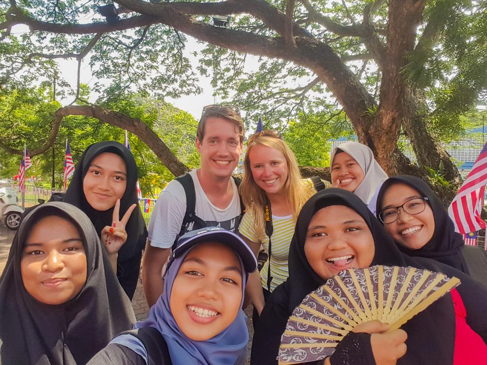 backpacken in Maleisië - groepsfoto in Malakka