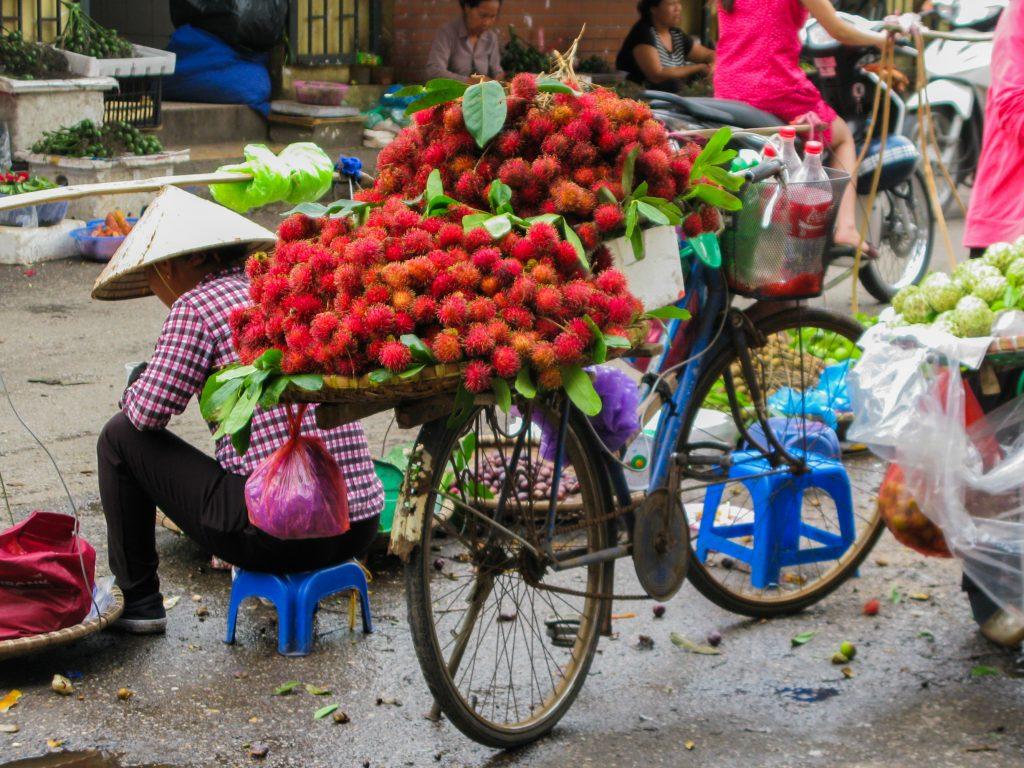 doen in Vietnam - fiets met fruit in Hanoi